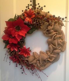 Hey, I found this really awesome Etsy listing at https://www.etsy.com/listing/213697595/christmas-holiday-red-poinsettia-burlap