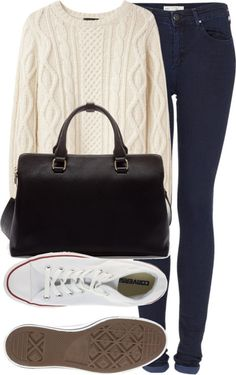 'Zoella style' -  Blue skinny jeans, White knit sweater, White converse, Black handbag