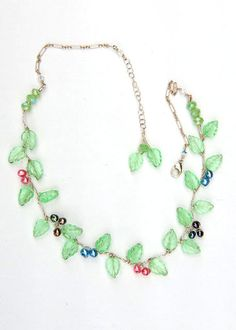 Green Vine Necklace, Beaded Necklace, Flower Jewelry, Spring Jewelry  twisted wire