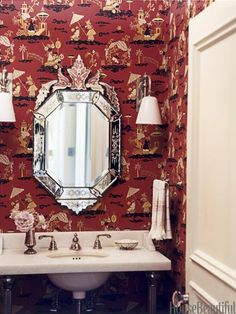 Michael S. Smith selected Shanghai Deco wallpaper in red from Clarence House to add a fanciful touch in a Santa Monica home's powder room. Click through for more of the best bathroom colors and paint color schemes for bathrooms. Bathroom Design Decor, Powder Room, Room Wallpaper, Bathroom Red, Best Bathroom Designs, Bathroom Colors, Powder Room Wallpaper, Chinoiserie Chic, Bathroom Design