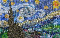 """Two students from the University of Virginia have created a pixelated replica of Vincent Van Gogh's """"Starry Night"""" using around colorful bottle caps. Bottle Top Art, Bottle Cap Table, Beer Bottle Caps, Beer Caps, Beer Cap Art, Bottle Cap Projects, Bottle Cap Crafts, Beer Cap Crafts, Vincent Van Gogh"""