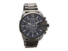 Diesel DZ4329 Mega Chief Grey Ion Plated Chronograph Bracelet Watch - W11110 | F.Hinds Jewellers Oversized Watches, Diesel Watch, Adjustable Bracelet, Casio Watch, Chronograph, Bracelet Watch, Watches For Men, Plating, Jewels
