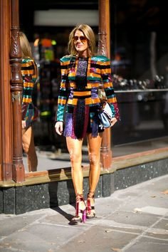 Anna Dello Russo wearing Balmain Paris Fashion Week, Day 3