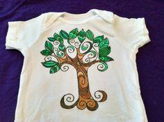 hand+painted+onesies | Hand Painted Green Tree Onesie