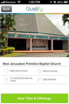 New Jerusalem Primitive Baptist Church in Miami, Florida #GivelifyChurches