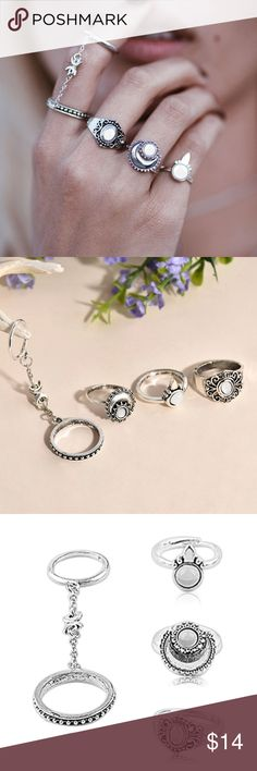 New Boho Silver Moon 5 Piece Ring Set Brand new boutique item! Comes with 5 rings shown. Two rings are attached by a chain with Crescent moon pendants. An absolutely brilliant Ring Set! Jewelry Rings