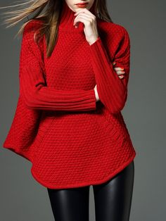 Shop Sweaters - Red Turtleneck Plain Long Sleeve Sweater online. Discover unique designers fashion at StyleWe.com.