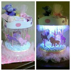 Carousel diaper cake baby shower center piece