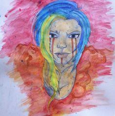 """Queen of Blood and Water."" Watercolor. 2014. #art #artwork #artist #arts #instaart #artistsoninstagram #instagramart #watercolor #draw #drawing. #pencil #pen #ink #messy #messyart #cartoon #comic #apocalypse #bloodandwater #water #blood #tattoos #geek #nerd #weirdo #instagood #picoftheday #potd #photooftheday #artoftheday by jettarts"