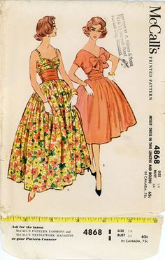 1950s Evening Dress Pattern McCalls 4868 Bust 34 by CynicalGirl