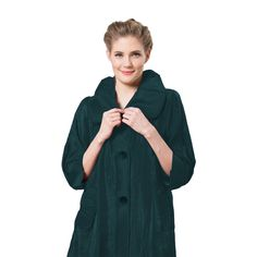 Damee Signature Swing Jacket Pleated Back Fun and Flattering! Peter Pan Collar Front Pockets Button Down Closure Poly/Rayon/Spandex Wash Cold or Dry Clean Imported Long Jackets, Jacket Buttons, Green Fashion, Royal Blue, Raincoat, Nyc, Color, Black, Green Style