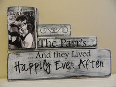 Personalized Wedding gift decoration and they lived happily Ever after shabby chic wood anniversary wedding shower gift black and white on Etsy, $29.50