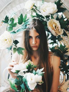 flower, girl, photography, model,