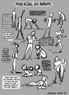 "Another guide to cartoon poses, this one focusing on ""less anatomy, more acting"" for more expressive poses."