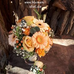 Bridal bouquet in apricot orange with roses, germini, hypericum and gypsophila # . Bridal bouquet in apricot-orange with roses, germini, hypericum and gypsophila Wedding Bouquets, Wedding Dresses, Gypsophila, Floral Wreath, Wedding Decorations, Wedding Photography, Wreaths, Bridal, Flowers