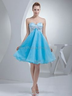 Buy appliqued blue sweetheart mini length evening cocktail dress in organza from baby blue evening dresses collection, sweetheart neckline a line in color,cheap knee length organza dress with zipper and for party cocktail party birthday party . Dama Dresses, Prom Girl Dresses, Blue Evening Dresses, Dresses Short, A Line Prom Dresses, Prom Dresses Online, Cheap Prom Dresses, Homecoming Dresses, Strapless Dress Formal