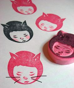 cat girl stamp by DearYouFromKozue, via Flickr