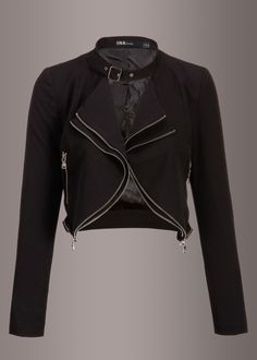 Rock your style in this fabulous cropped jacket! The black jacket has a rad moto jacket style cut, silver hardware and long sleeves. It is the perfect layering piece for your dresses but also looks fa