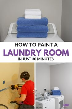 AD: How to paint a laundry room using a Wagner paint sprayer. The easiest way to makeover small spaces with paint! Modern Laundry Rooms, Laundry Room Layouts, Laundry Room Organization, Laundry Room Design, Paint Stir Sticks, Purple Couch, Using A Paint Sprayer, Interior Decorating Tips, Room Ideas