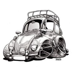 Cartoon Volkswagen Art Print Charcoal Drawing by Lemorris