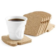 Fun toast-shaped cork comes packaged like a loaf of multigrain bread and is designed to be used as coasters and trivets. via MoMA Store Moma Store, Gravure Laser, Ideias Diy, Cork Coasters, Drink Coasters, Funny Coasters, Coaster Furniture, Deco Design, Moma Design