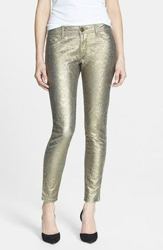 Mix up your Holiday Party look with these DL1961 'Emma' Metallic Denim Leggings (Glimmer) at Nordstrom