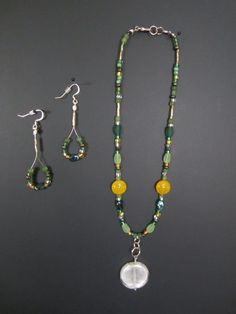 Green and Yellow necklace set by StylishlyHandmade on Etsy, $30.00