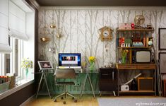 Modern-Home-Office-Design-with-Tree-wallpaper-pattern.
