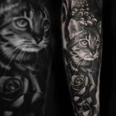 black and white cat tattoo portrait by Joel Parkinson