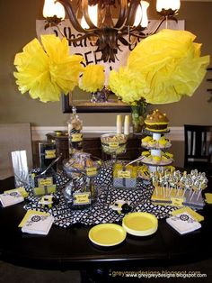 Hostess with the Mostess® - What's It Gonna BEE Gender Reveal Party. I love this for other party ideas as well - great color pallet for church actity or unit gathering! Bee Gender Reveal, Baby Gender Reveal Party, Gender Party, Shower Party, Baby Shower Parties, Baby Showers, Bridal Shower, Unisex Baby Shower, Mommy To Bee