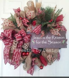 Burlap Christmas Wreath by WreathsbyDesign1 on Etsy, $75.00