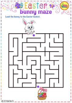 Easter themed Preschool Printables - Free worksheets, bunny maze puzzle for kids - tracing letters, numbers and other activities - fun learning by BonTon TV Mazes For Kids, Easter Activities For Kids, Letters For Kids, Preschool Learning Activities, Preschool Printables, Fun Learning, Easter Puzzles, Easter Worksheets, Free Worksheets