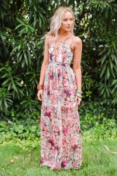 Blushing Floral Maxi Dress