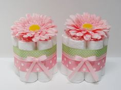 FOUR Pink Flowers Mini Diaper Cake Baby Shower Centerpiece