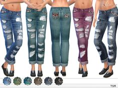 Ripped Boyfriend Jeans by ekinege at TSR via Sims 4 Updates  Check more at http://sims4updates.net/clothing/ripped-boyfriend-jeans-by-ekinege-at-tsr/