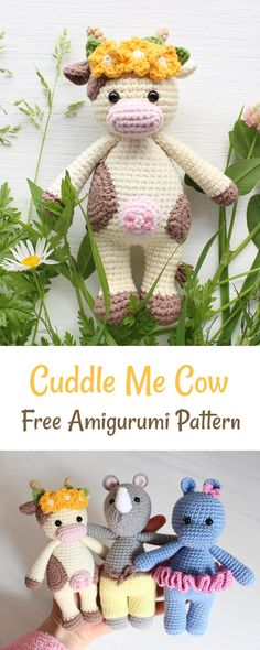 Amigurumi Crochet Create a friendly crochet cow using our FREE step-by-step pattern. - This cute crochet cow amigurumi is super soft and huggable! The toy is not only a perfect gift idea for anyone Crochet Cow, Crochet Gifts, Cute Crochet, Crochet For Kids, Crochet Animals, Crochet Dolls, Crochet Panda, Crochet Patterns Amigurumi, Crochet Blanket Patterns