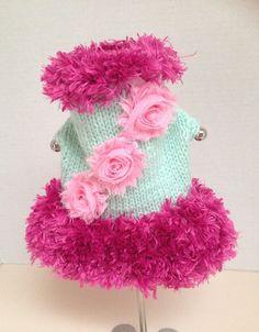 Small Hand Knit Mint Green and Hot Pink Dog Sweater by RocknHotdog