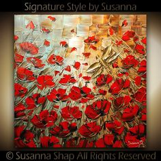 ORIGINAL Red Poppies Dragonfly Abstract Painting By Susanna Shap - Textured Impasto Palette Knife Painting on Canvas via Etsy