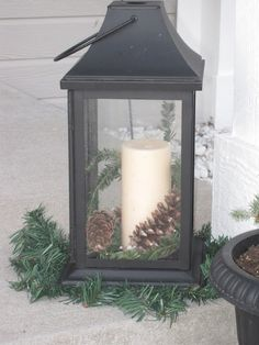Decorated Chaos: Front Porch Winter Display With FREE Greenery christmaslanterns Porch Lanterns, Christmas Lanterns, Christmas Porch, Lanterns Decor, Outdoor Christmas Decorations, Winter Decorations, Outdoor Lantern, Church Decorations, Xmas