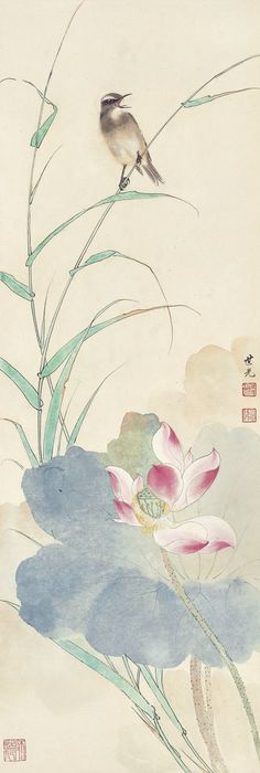 Tian Shiguang (1916-1999) BIRD AT LOTUS POND signed SHIGUANG, and with three seals of the artist ink and colour on paper, hanging scroll 98.3 by 33 cm. 38 5/8 by 13 in.  田世光 荷淨禽鳴 設色紙本 立軸 款識:世光。 鈐印:「田世光」、「公煒」、「師造化」。 98.3 by 33 cm. 38 5/8 by 13 in.