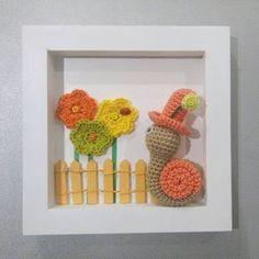 Cadre en crochet petite scénette enfantine ! #crochet #escargot #cadrerelief