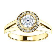 14kt Yellow Gold 5.2mm Center Round Genuine Diamond and 22 Halo Genuine Diamonds Engagement Ring...(ST122200:209:P).! Price: $1049.99 #diamonds #ring #gold #bezelring #fashion #jewelry