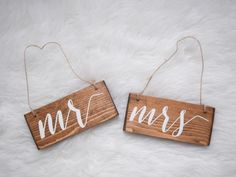 Mr & Mrs Hanging Chair Signs Wedding Chair by AllyBethDesignCo