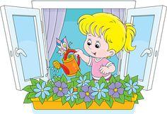 窗台浇花的卡通女孩