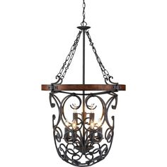 A scrollwork shade adds traditional appeal to this Old World pendant, perfect hung in the foyer or dining room for sophisticated style.