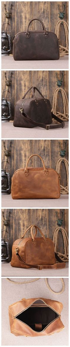 Solid Brown/Dark-Brown Overnight & Business Genuine Leather Travel Bag with Padded Laptop Section Leather Duffle Bag Men's Style Bag Leather Goods For Men
