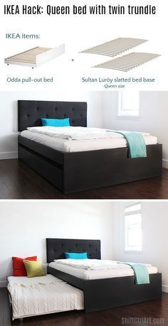 How to: build a queen bed with twin trundle - IKEA hack- maximize that guest room