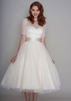 86-nellie Classic Fifties style tea length wedding dress #WeddingDresses50s