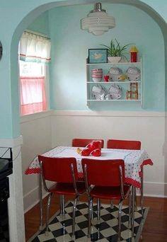 I LOVE colorful, not too kitschy, retro kitchens. Casa Retro, Cute Kitchen, Kitchen Nook, Aqua Kitchen, Kitchen Dining, Real Kitchen, Turquoise Kitchen, Cherry Kitchen, Kitchen Walls