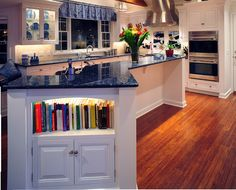 Cookbook storage which is eye pleasing. #kitchen #cookbooks #storage #cabinets
